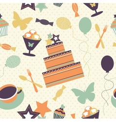 Seamless pattern with decorative birthday elements vector image