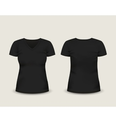 Black V-neck t-shirt template vector image vector image
