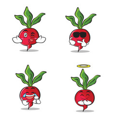 collection set of radish character cartoon style vector image vector image