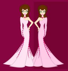 Girls in luxury night out vs zodiac gemini vector
