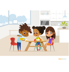Multiracial children preparing lunch by themselves vector