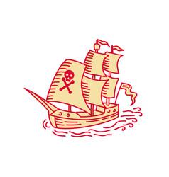 pirate sailing ship galleon mono line vector image