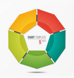 polygonal circle chart infographic template with 5 vector image vector image