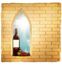 red wine bottle in arc window vector image vector image