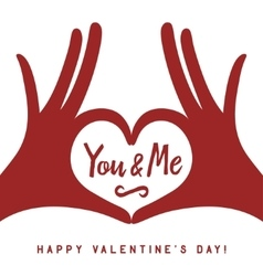 Valentine day lettering background with hands in vector image