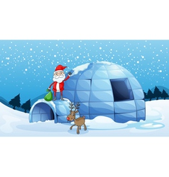 an igloo and a santa clause vector image vector image