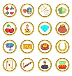 Casino set cartoon style vector image