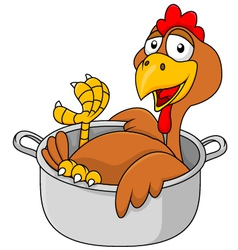 Chicken in the saucepan vector image