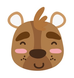 Colorful glad bear head wild animal vector