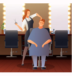 female hairdresser flat composition vector image