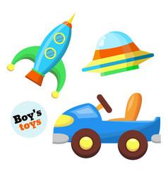 flat car rocket flying caucer toys set vector image