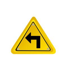 metallic realistic yellow triangle frame turn left vector image vector image