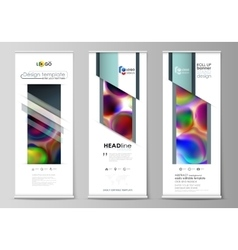 Roll up banner stands flat templates geometric vector
