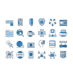 03 blue internet icons set vector