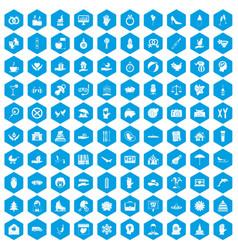 100 joy icons set blue vector