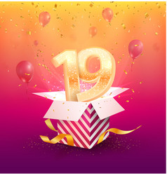 19 th years anniversary design element vector image