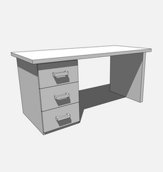 3d image - grayscale desk with three drawers vector image