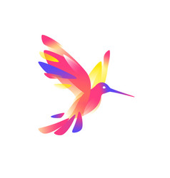 a pink colibri image is isolated on white vector image