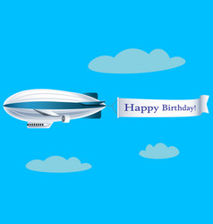 airship with banner with text happy birthday vector image