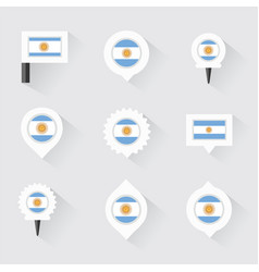 Argentina flag and pins for infographic and map vector