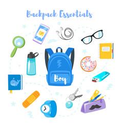 Backpack essentials vector