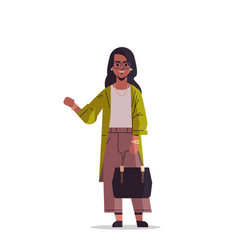 Beautiful indian woman with handbag waving hand vector