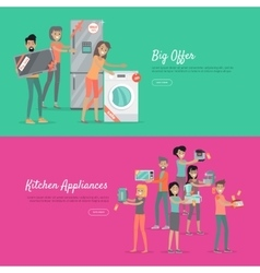 Big Offer Kitchen Appliances Set of People on Sale vector