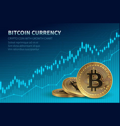 Bitcoin currency crypto coin with growth chart vector