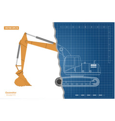 blueprint of excavator on white background vector image