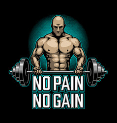 bodybuilding poster with muscle man vector image