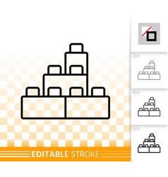 building block toy simple black line icon vector image