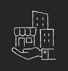 Building ownership chalk white icon on dark vector