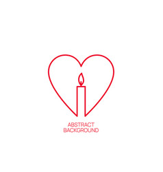 Burning candle with a heart vector
