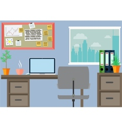 Business workplace with office things vector image