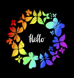 Butterfly frame hello lettering vector