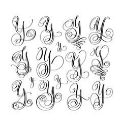 Calligraphy lettering script font y set hand vector