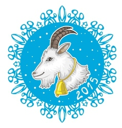 Card with blue snowflake and goat symbol of 2015 vector image