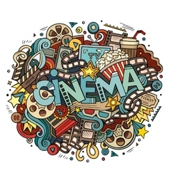 Cartoon cute doodles hand drawn cinema inscription vector