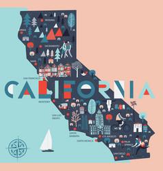cartoon map california usa print design vector image