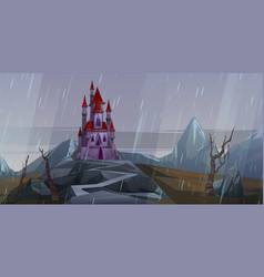 Castle on rock at rainy weather medieval palace vector