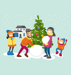 caucasian family making a snowman in the yard vector image