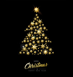 christmas and new year gold star xmas tree card vector image