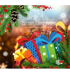 Christmas Gifts on sparkling background vector image