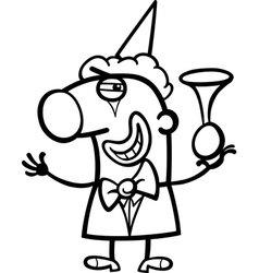 Clown cartoon coloring page vector