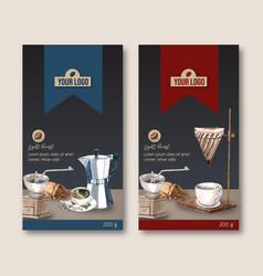 Coffee packaging bag design with cup vector