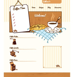 Coffee theme for web site vector image