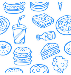 Collection of food various doodles vector