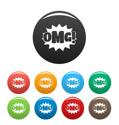 comic boom omg icons set color vector image