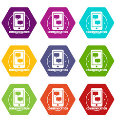communication phone icons set 9 vector image