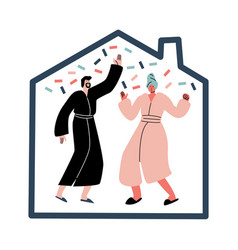 Couple in home clothing dancing during pajama vector
